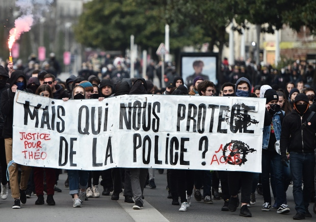French protesters peacefully demonstrating.