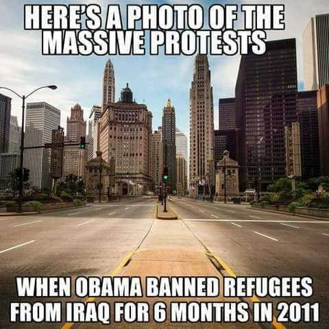 Massive protests when Obama banned refugees from Iraq in 2011.