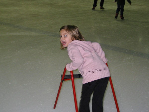 Alexandra making her getaway on the ice!